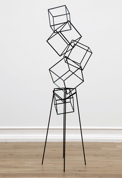 eva rothschild - jokes, 2008, painted oak, painted steel, 258x68x74 cm